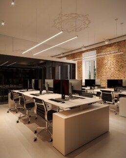 Дизайн інтер'єру сучасного офісу, робочий простір