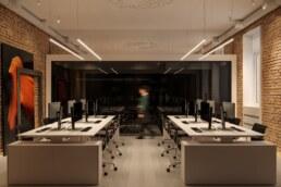 Дизайн інтер'єру сучасного офісу, робочий простір, фронтальна проекція