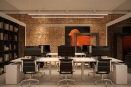 Дизайн інтер'єру сучасного офісу, робочий простір, Вийти за рамки