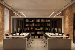 Дизайн інтер'єру сучасного офісу, робочий простір, книжкова шафа