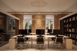 Дизайн інтер'єру сучасного офісу, робочий простір, книжкова шафа в робочому просторі
