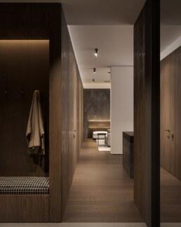 Dark wood nobel interior design, hallway