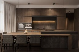 Dark wood graphite interior design, kitchen with island