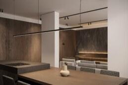 Dark wood nobel interior design, kitchen with island