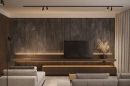 Dark wood nobel interior design living room TV zone