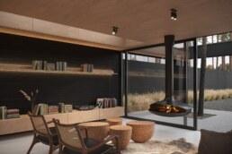 Nero House Fireplace Plywood interior