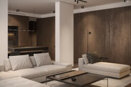 Dark wood graphite interior design, living room