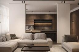 Dark wood nobel interior design, living room hidden little work place