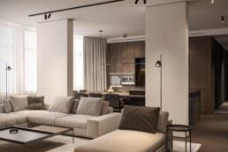 Dark wood nobel interior design, living room hidden kitchen view