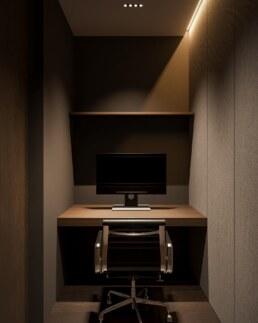 Dark wood nobel interior design, small work space