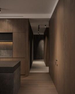 Dark wood and grey fabric, nobel interior design, small work space