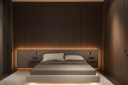 Wooden bedroom with lighting behind the bed graphite interior design