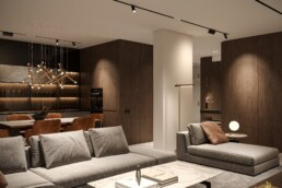 Notte Interior Design Entrance, Living room & Kitchen design