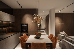 Notte Interior Design, Functional Kitchen with Dining Room